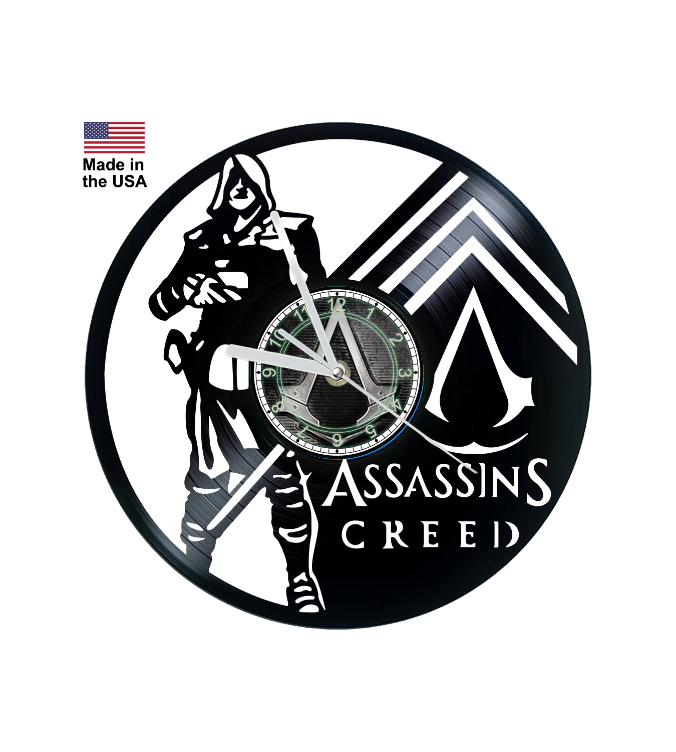 Vinyl Clock, Assassins Creed, Video Game, Christmas gift, Wall clock, vinyl record clock