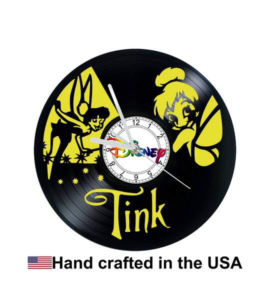 Vinyl Clock, Disney, Tinkerbell, Peter Pan, Wall Clock, Vinyl Record Clock