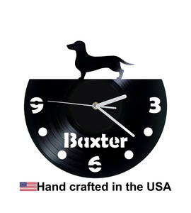 Vinyl Clock, Dog, Dachshund, Wall Clock, Vinyl Record Clock