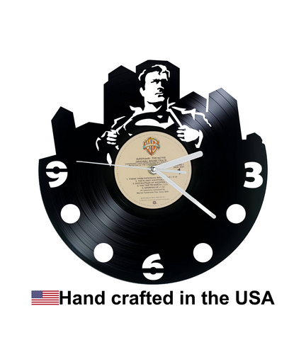 Vinyl Clock, Superheroes, Superman, Superman Changing, Wall Clock, Vinyl Record Clock