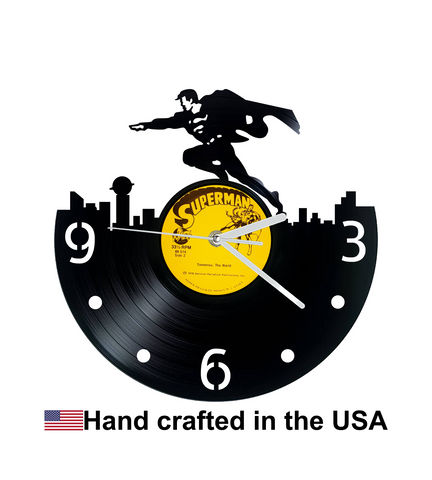 Vinyl Clock, Superheroes, Superman, Superman over Metropolis, Metropolis, Wall Clock, Vinyl Record Clock