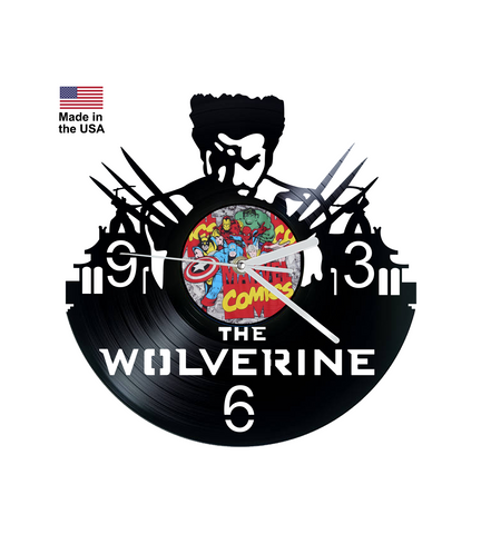 Vinyl Clock, Superheroes, X-Men, Wolverine, Logan, Wall Clock, Vinyl Record Clock