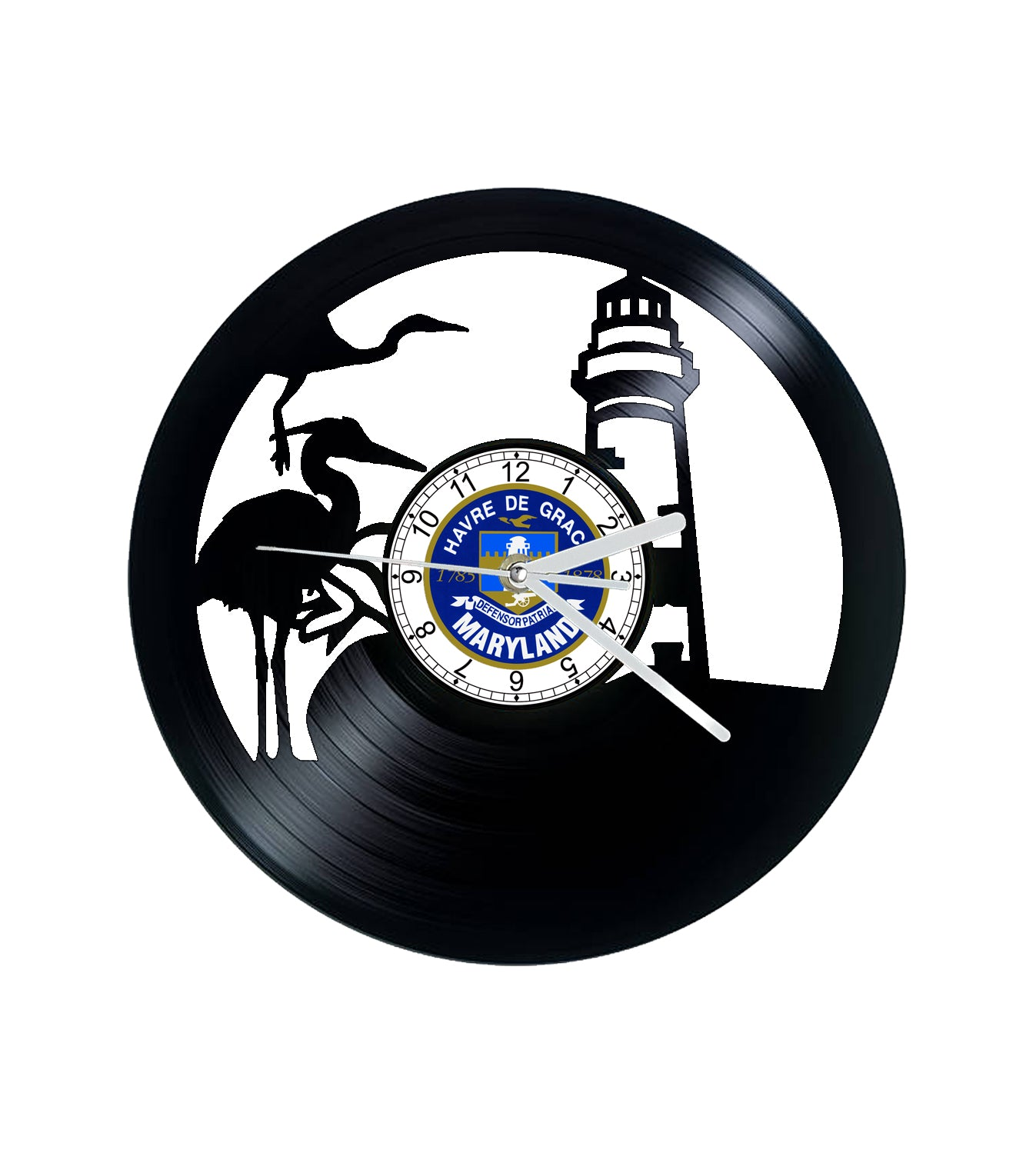 Vinyl Clock, Havre De Grace, Heron, lighthouse, Wall Clock, Vinyl Record Clock