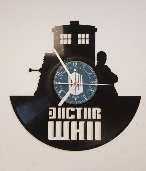 Vinyl Clock, time traveler and his police box, Christmas gift, Wall clock, vinyl record clock