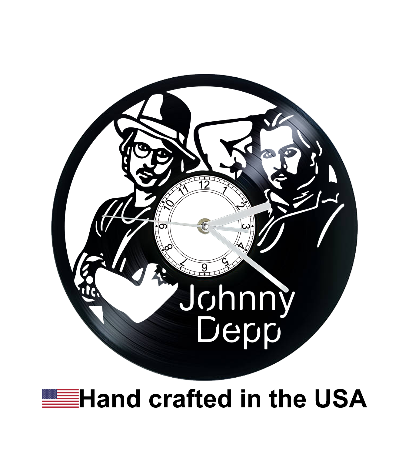 Vinyl Clock, Johnny Depp, Wall Clock, Vinyl Record Clock