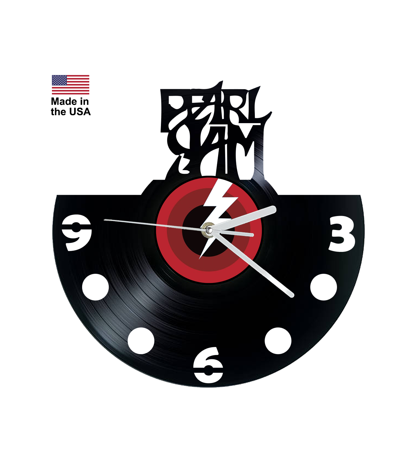 Vinyl Clock, Pearl Jam, Lightning bolt, Wall Clock, Vinyl Record Clock