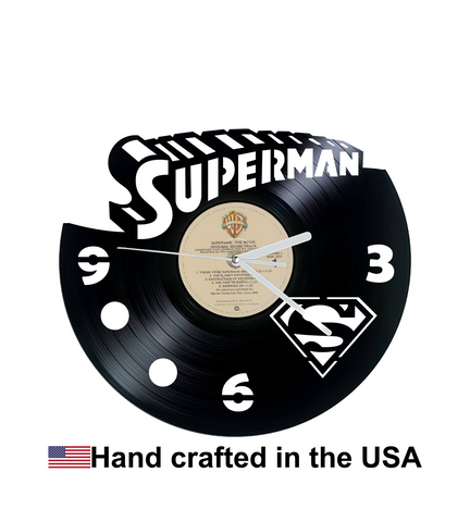 Vinyl Clock, Superheroes, Superman, Superman the Movie, Wall Clock, Vinyl Record Clock