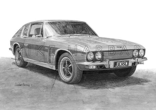Jensen Interceptor Black and White Print
