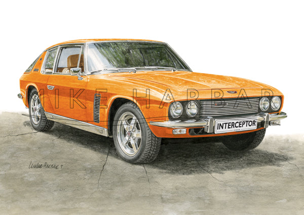 Jensen Interceptor Colour Print - Orange