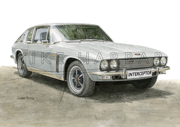 Jensen Interceptor Colour Print - Silver
