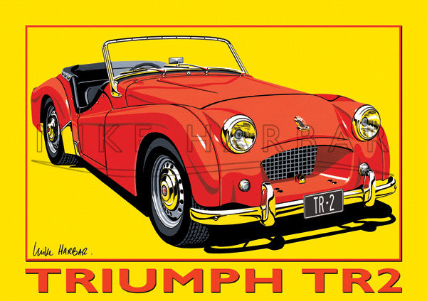 Triumph TR2 Yellow Poster