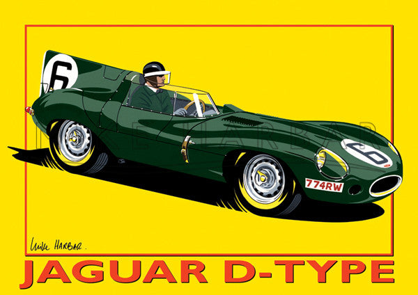 Jaguar Yellow Poster D Type