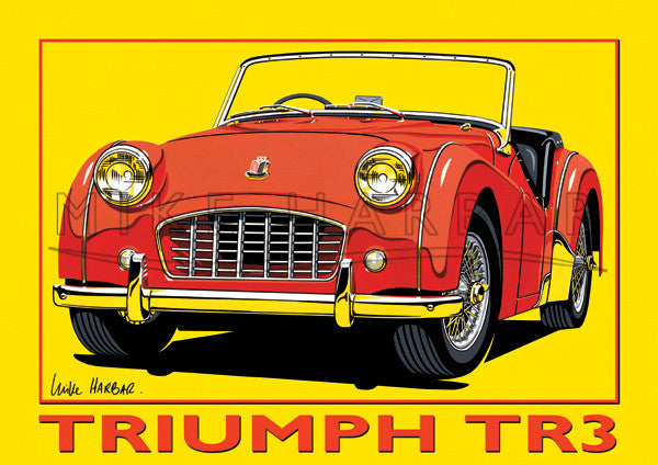 Triumph TR3 Yellow Poster