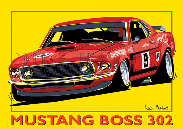 Ford Yellow Poster Mustang Boss 302