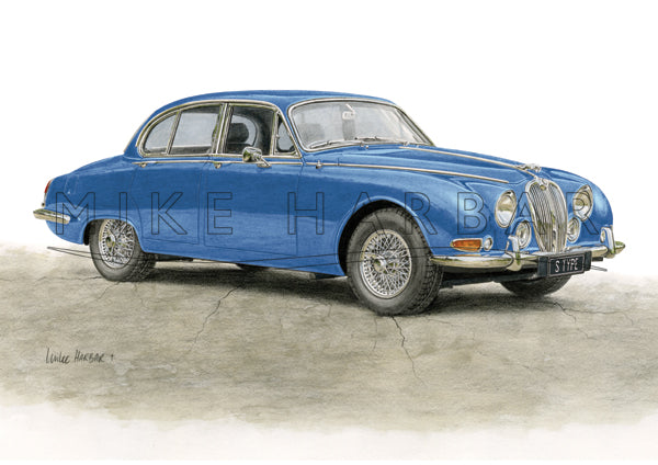 Jaguar S Type '63 to '68 - Colour Print - Blue