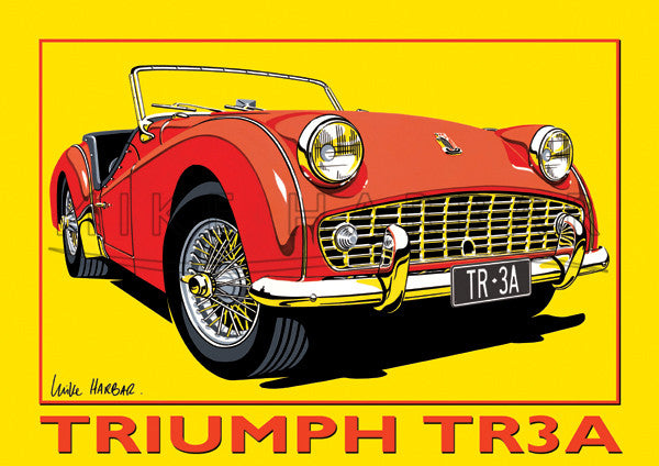 Triumph TR3A Yellow Poster