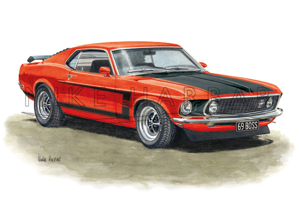 Ford Mustang 1969 Fast Back BOSS 302 Colour Print