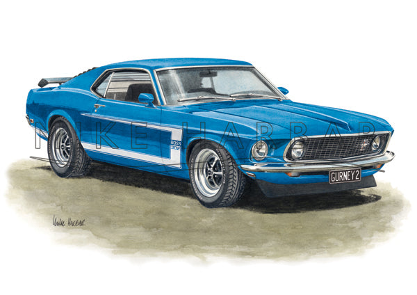 Ford Mustang 1969 Fast Back BOSS 302 Personalised Print