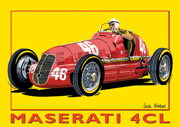 Maserati Yellow Poster 4CL and Nuvolari