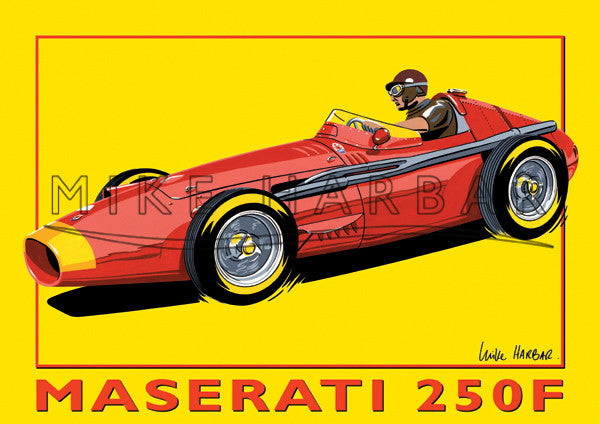 Maserati Yellow Poster 250F and Fangio