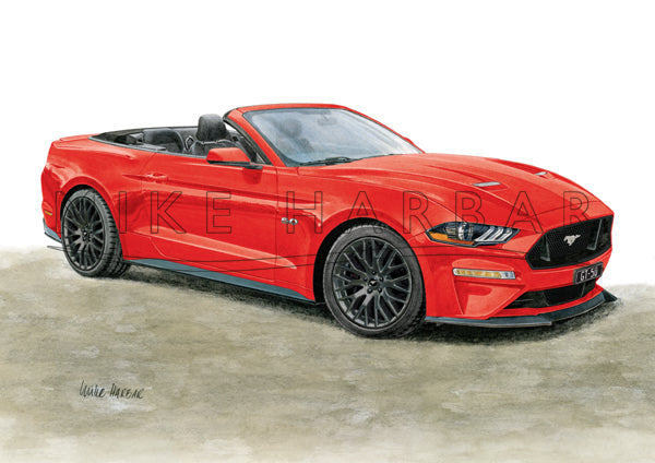 Ford Mustang 208-19 GT 5.0 CONVERTIBLE personalised print