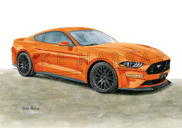 Ford Mustang 208-19 GT 5.0 FASTBACK personalised print