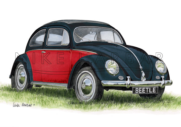 VW Beetle 1955 Oval Screen - Personalised Print Your Colour & Rego