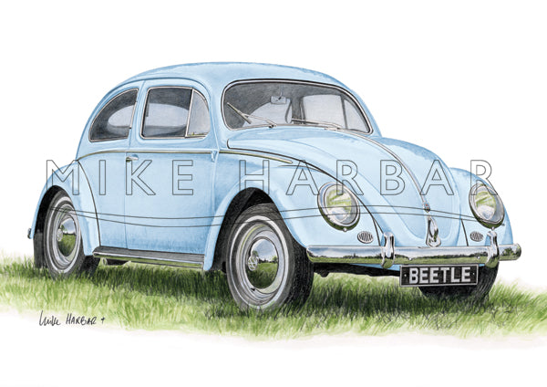 VW Beetle 1955 Oval Screen - Light Blue Print