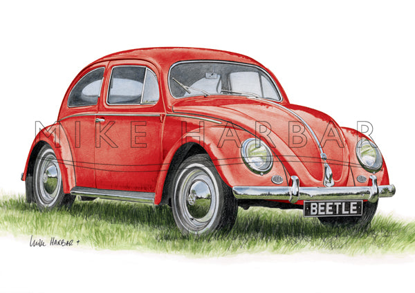 VW Beetle 1955 Oval Screen - Red Print