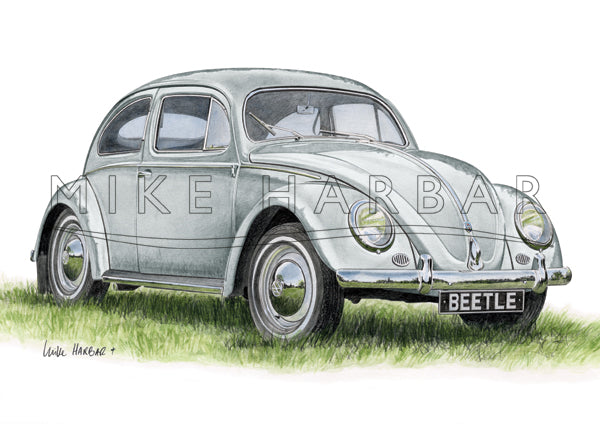 VW Beetle 1955 Oval Screen - Silver Print