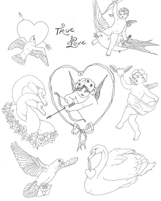 Tessa Claire Tattoo flash cherubs