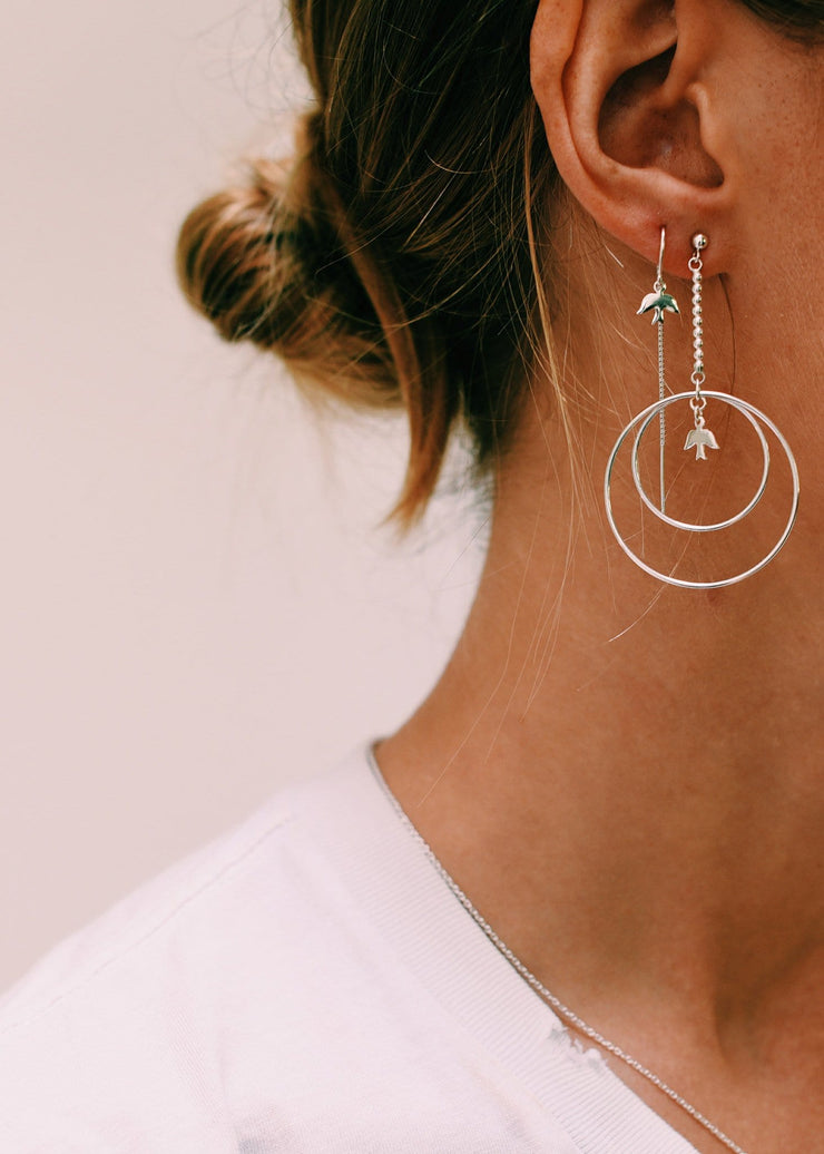 Dove Circle Earrings
