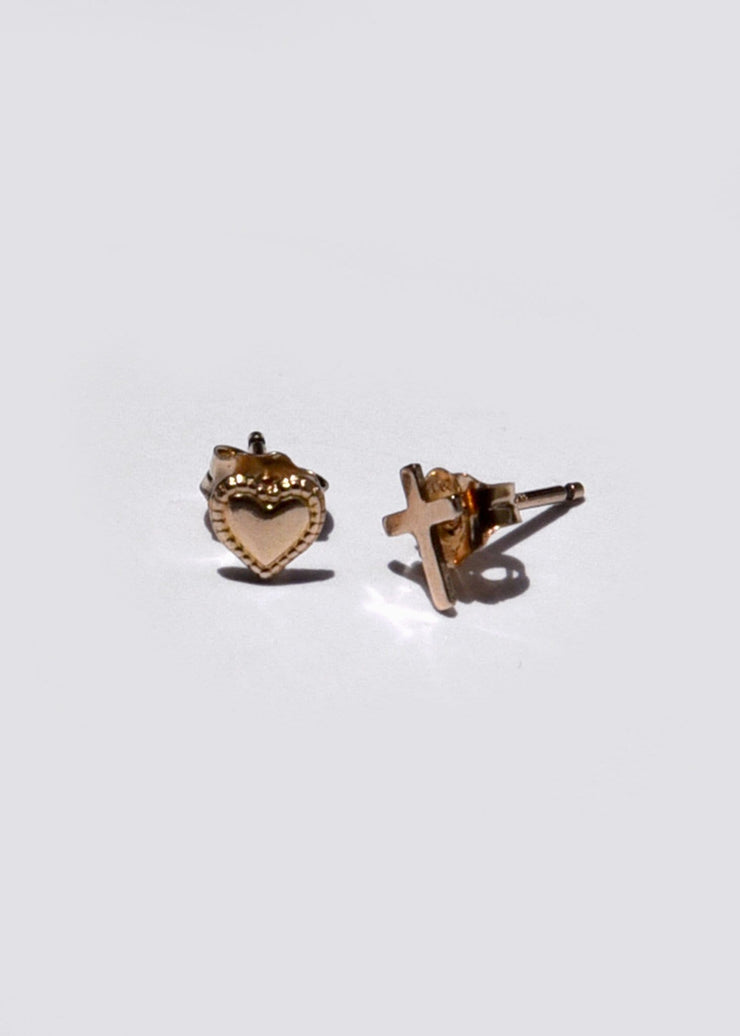 Heart and Cross Stud Earrings