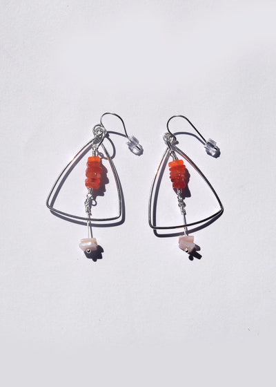 Triangle Gemstone Earrings