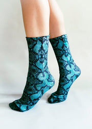 Green Serpent Velvet Socks