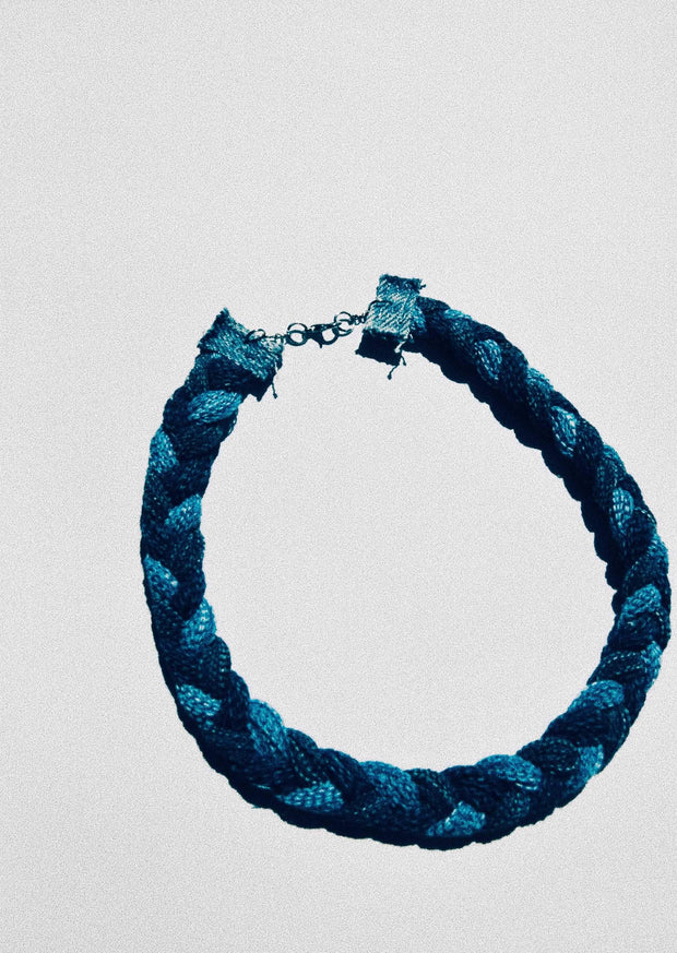 Braided Denim Necklace 5/8""
