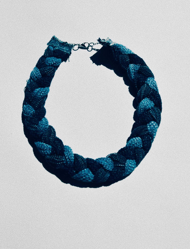 Braided Denim Necklace 1""