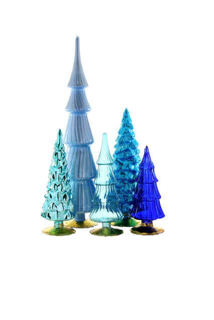 Large Glass Tree Set - Blue