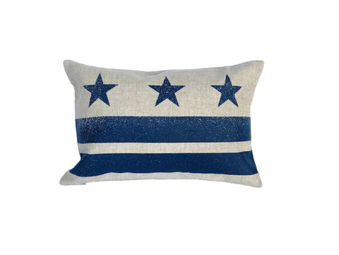 Washington D.C. Flag Pillow - Natural Linen + Navy Ink