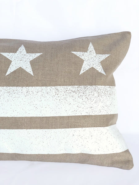 Washington D.C. Flag Pillow - Natural Linen + White Ink