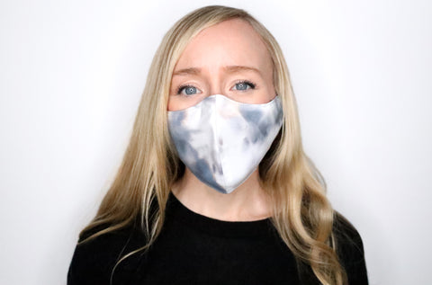 Face Mask with filter pocket & nose wire (Jet Black/Gray watercolor)