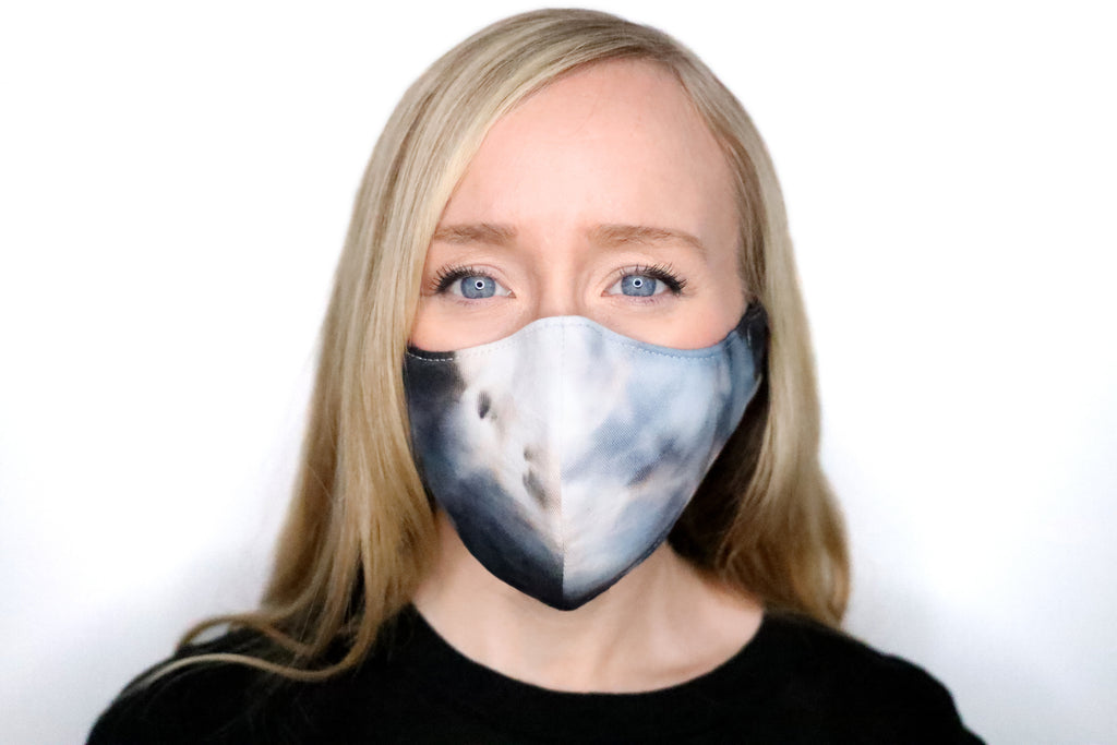 Washable Face Mask Tie Dye Watercolor Black Blue Gray Grey