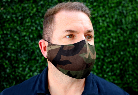 Face Mask with filter pocket & nose wire (Camouflage)