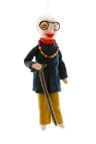 Iris Apfel felt ornament doll