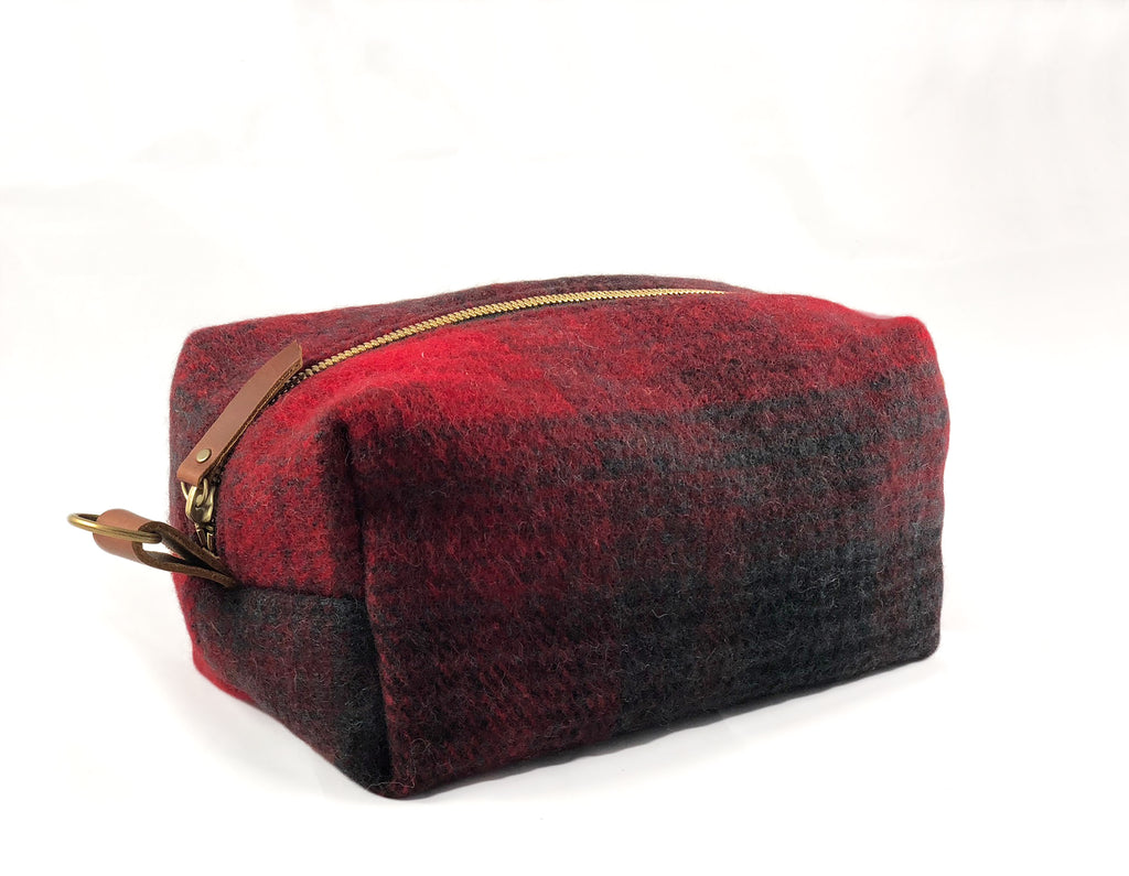 Large Toiletry Bag - Red & Black Plaid Blanket with Leather
