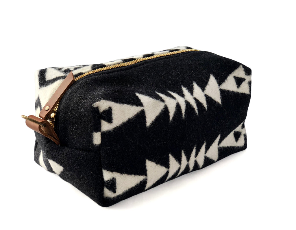 Large Toiletry Bag - Black & White Tribal Blanket with Leather