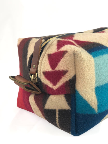 Large Toiletry Bag - Blues & Reds Tribal Blanket with Leather