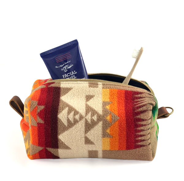 Large Toiletry Bag - Warm Tribal Blanket with Leather