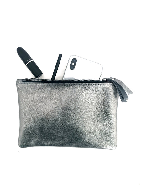 Metallic Leather Clutch Gunmetal Clutch