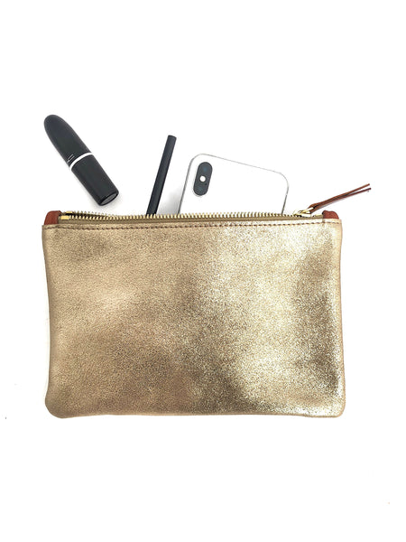 Metallic Leather Clutch Gold Clutch Champagne Clutch Soft Gold Clutch Brass Clutch Pouch